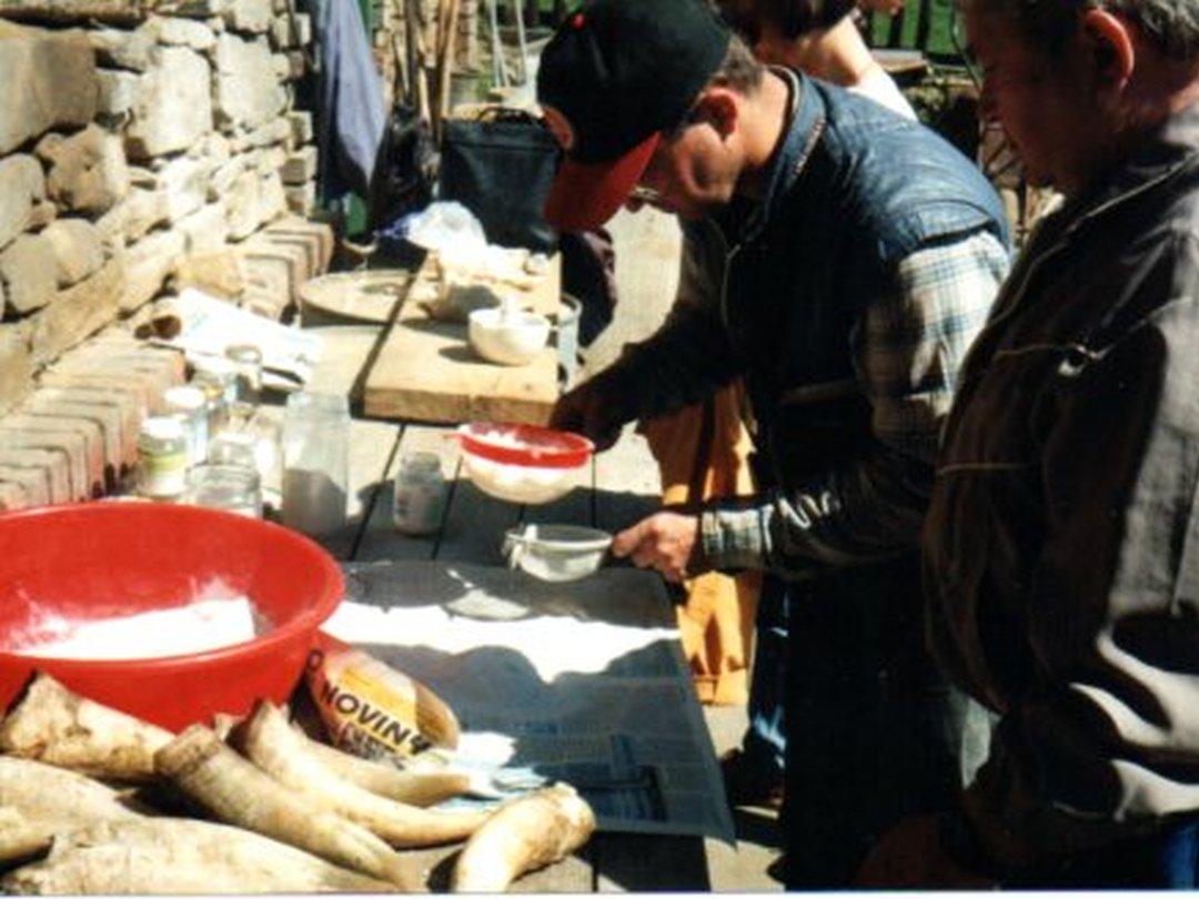 Prosévání jemně drceného křemene pro výrobu biodynamického preparátu křemenáček