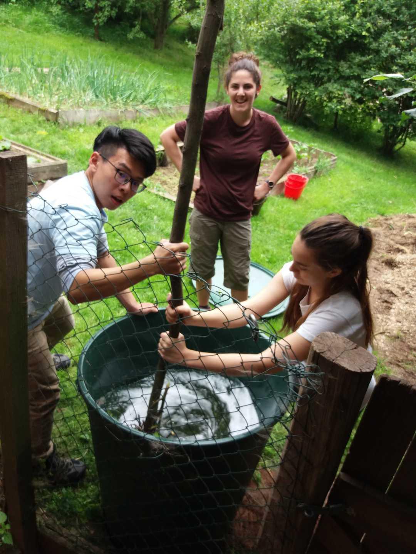 Dobrovolníci při přípravě biodynamického preparátu